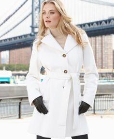 MICHAEL Michael Kors Coat, Hooded Wool-Blend Belted