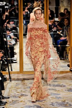 Burgundy flowers over champagne Marchesa (fall 2012)