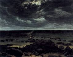Seashore by Moonlight by Caspar David Friedrich 1830 Oil on Canvas (Alte Nationalgalerie, Berlin)