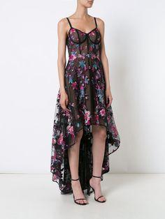 Marchesa Notte Vestido com bordado floral