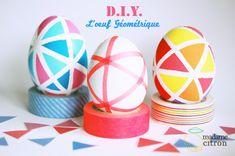 DIY spécial Pâques : les oeufs géométriques au masking tape