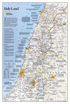 Art Print: 1989 Special Places of the World, Holy Land Map by National Geographic Maps : Leryn Franco, Jordan Poster, Naher Osten, National Geographic Maps, Bible Mapping, Israel Travel, Israel Trip, Wall Maps, Wall Mural