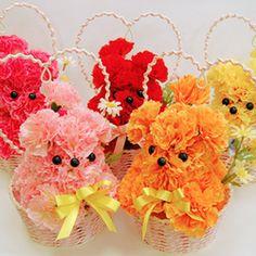 Mini perritos en canastas individuales. Mascotas florales.
