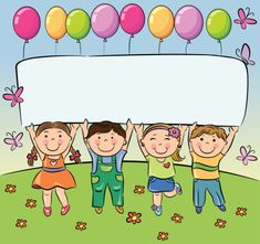 Summer children hold blank banner vector image on VectorStock School Border, School Frame, Powerpoint Background Design, Kids Background, School Labels, School Clipart, School Decorations, Child Day, Summer Kids