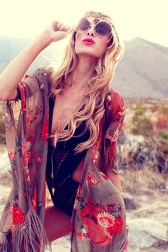 Hippie masa style fringe kimono cover up, boho chic look. For MORE Bohemian fashion & jewelry trends FOLLOW http://www.pinterest.com/happygolicky/the-best-boho-chic-fashion-bohemian-jewelry-gypsy-/
