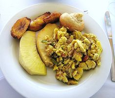 Ackee & Saltfish- Breadfruit Plaintains and fry dumpling-Typical Jamaican Breakfast