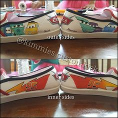 "View of the Sides, i added my sons name "" Uriel Alexander "". Top is the outer side with guido fillmore luigi flo ramone and sally (left to right) bottom is the inner side with mcqueens bolt #kimmiescustomkicks #kimberlys_creations #handpaintedshoes #customshoes #disneycars #disneycarsparty #disneycarslogo #guidodisney #fillmoredisney #luigidisney #flodisney #ramonedisney #sallydisney  #mcqueenslightningbolt #disneycarscharacters #toomanyhashtags"