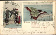 Postkarte Helgoland Schleswig Holstein, Bewohner beim Heiratsantrag, Inselblick 1902 #Helgoland