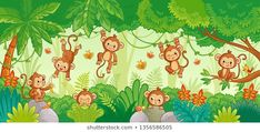 Buy Vector Set with Monkey in Various Poses on Jungle by svaga on GraphicRiver. Vector set with monkey in various poses on jungle background. Macaques among the trees. Jungle Clipart, Art Clipart, Background Drawing, Cartoon Background, Poses, Preschool Jungle, Monkey Drawing, Monkey Illustration, Cupcake Drawing