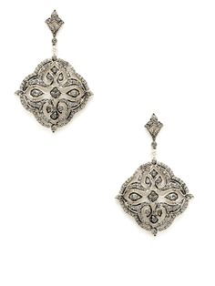 Black Crystal Geometric Drop Earrings by Azaara Vintage at Gilt