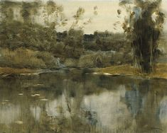 Isaac Levitan (1860 — 1900, Russia) Pond. 1897  watercolor on paper, cardboard. 47 x 61 cm. National Art Museum of the Republic of Belarus.  Inv. Number РГ-5