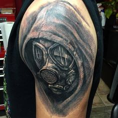 Gas Mask Tattoo Done by Shaun @ Distinctive Body Art Studio in San Clemente CA