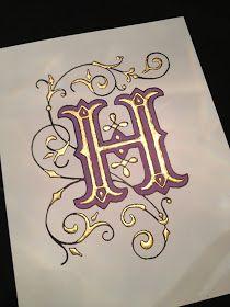 Illuminated Monograms Kimberly Schlegel Whitman: Guest Post: Jen O'Neal of Halo Calligraphy Calligraphy Letters, Typography Letters, Islamic Calligraphy, Illuminated Letters, Illuminated Manuscript, Graffiti Alphabet, Illumination Art, Fancy Letters, Vintage Ads