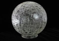 """Crackle Glass Ball Shade 8"""" Vintage Art Deco Frankart Style Clear Round Globe…"""
