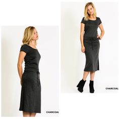 Coming Soon! Hooded Short Sleeve Drawstring Dress So cute and so comfy!   Scoop neck w hood backShort sleeveDrawstring waistMidi lengthCharcoal gray S-M-L. Boutique Dresses Midi