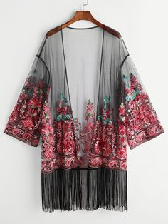 Shop Fringe Trim Embroidered Mesh Kimono online. SheIn offers Fringe Trim Embroidered Mesh Kimono & more to fit your fashionable needs.
