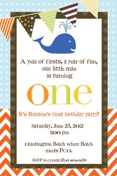 Whale Birthday Invitation First Birthday Party Invitation Whale