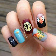 Harry Potter Nail decor #hp #nail #art … More