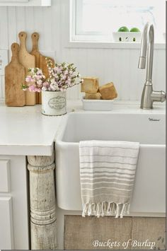 Gorgeous and airy. The towel over the farm sink is perfection #LGLimitlessDesign #Contest