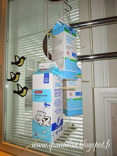 askartelua: eläimet, ruokinta-automaatti, kierrätys, maitopurkki  http://ipanaaskartelua.blogspot.fi/2015/03/ruokinta-automaatti-linnulle.html