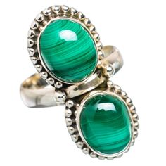 Ana Silver Co Malachite 925 Sterling Silver Ring Size 7 RING828422