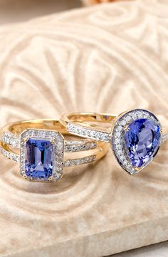 It doesn't get much more elegant than tanzanite and diamonds all wrapped up in gold. So take your pick - you cannot go wrong. Tanzanite Rings, Gemstone Rings, Bridal Rings, Beautiful Earrings, Jewelery, Bling, Stud Earrings, Gemstones, Elegant