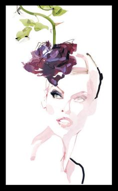 Linda Evagelista by David Downton  I love how watercolor artists use white space. Note to self.