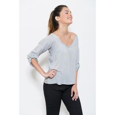 V neck blouse, Light grey