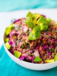 Rainbow Slaw with Sweet Tahini Dressing #vegan #salad #recipe #healthy.