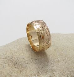 SimpleThick GoldFilled Patterned Band Ring. This Gold Ring is great for a going steady ring  or wedding ring. by LittleSomethingsAnn on Etsy