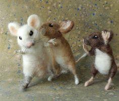 silly mice by Sara Renzulli: Sarafina Fiber Art