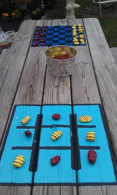 We have a small yard so utilizing space and making the most of what we have is the goal. Painted checker board and tic tac toe on picnic table. Painted rocks like lady bugs and bumblebees for pieces. Now 2 more games for kids to play outside. Backyard Games, Outdoor Games, Outdoor Fun, Outdoor Decor, Outdoor Camping, Outdoor Checkers, Outdoor Lighting, Backyard Playground, Backyard Landscaping