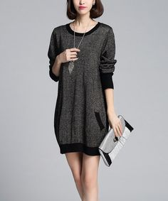 Another great find on #zulily! Black & Gold Shimmer Wool-Blend Sweater Dress by Vivo Fashion #zulilyfinds