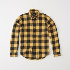 Abercrombie & Fitch Washed Flannel Shirt ($15) ❤ liked on Polyvore featuring men's fashion, men's clothing, men's shirts, men's casual shirts, yellow check, mens slim fit flannel shirts, men's curved hem t shirt, mens flannel shirts and mens slim fit casual shirts