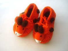 детская обувь оранжевый жираф Детские пинетки животного AnatoliaDreams