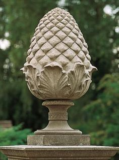pineapple finial pediment outer space garden statues