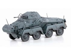 """Dragon 1:72 Panzerspahwagen Eight Wheel Diecast Armoured Vehicle DR60599 This Panzerspahwagen Eight Wheel (Sd Kfz 231 - Eastern Front 1941) Diecast Armoured Vehicle features working wheels. It is made by Dragon and is 1:72 scale (approx. 9cm / 3.5in long).  Germany created a number of successful schwerer Panzerspahwagen (""""heavy armored reconnaissance vehicles""""). Among them was the Sd.Kfz.231 8-Rad (""""eight-wheel""""). Loosely based on the six-wheeled Sd.Kfz.231, the Bussing-NAG 8x8 chassis…"""