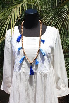Ocean colors Tassel necklace. Wood beads brown blue by IbizaGypsy, $15.00