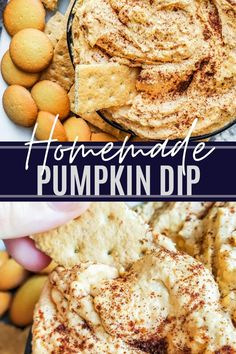 This no-bake Pumpkin Cheesecake Dip is ready in only 10 minutes and makes the best Fall dessert or appetizer. Pair the pumpkin dip with sliced apples, animal crackers, graham crackers or vanilla wafers for the perfect party snack. This Halloween treat is great for holiday get togethers and both kids and adults. Pumpkin Dip, Cheese Pumpkin, Baked Pumpkin, Pumpkin Dessert, Pumpkin Spice, Savory Pumpkin Recipes, Vegan Recipes Easy, Fall Recipes, Snack Recipes