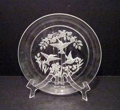 8 inch Intaglio Heavy Glass Plate 3 Hummingbirds #Intaglio Casual Decor, Hummingbirds, Decorative Plates, Cut Glass, Antiques, Confidence, Mood, Home Decor, Ebay