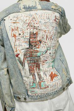 Customised Denim Jacket, Custom Denim Jackets, Painted Denim Jacket, Painted Jeans, Painted Clothes, Jean Michel Basquiat, Zara Denim Jacket, Zara Man Jacket, Men's Denim