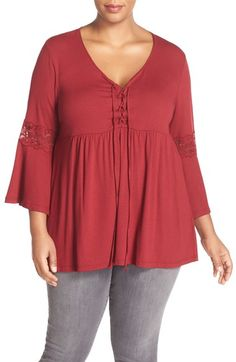 Bobeau Lace Inset Bell Sleeve Jersey Top (Plus Size) available at #Nordstrom
