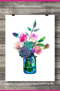What a gorgeous spring mason jar instant download!  Love this! Watercolor flowers mason jarPrintable art |watercolor typography watercolor peony succulent | Printable wall art INSTANT download #ad #masonjar #printable #spring