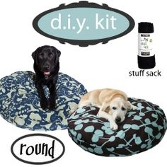 Cute doggie bed covers and stuff sacks...you can load up old blankets, pillows, and clothes to give your pup a bed that smells like you all while recycling all those things...plus easier to wash...love these!