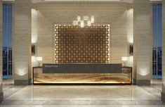 modern hotel Proof that a lobby design is j - hotel Hotel Reception Desk, Reception Desk Design, Lobby Reception, Modern Reception Desk, Hotel Lobby Design, Interior Modern, Office Interior Design, Modern Furniture, Interior Logo