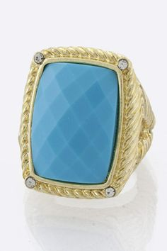 Turquoise Jewel Stretch Cocktail Ring Fashion Jewelry $4.99