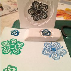 Hand carved rubber stamp for Letterboxing. It's from the Pyrex Butterfly Gold pattern.