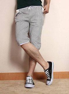 Fashion Tartan Pattern Men's Capri Pants