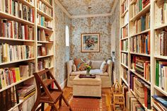 Sweet narrow library at 104 Pierrepont Street, Apartment 1 in Brooklyn Heights, NYC. Library, built-in bookshelves, daybed