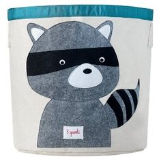 This 3 Sprouts Raccoon Storage Bin is ideal in the nursery or children's bedroom for storing toys or clothes, or use as a laundry basket. The 3 Sprouts Storage Bin is made from cotton canvas with a polyester felt applique. Nursery Storage Baskets, Toy Storage Bins, Toy Bins, Bag Storage, Kids Storage, Storage Organization, Clothes Storage, Plastic Storage, Storage Containers